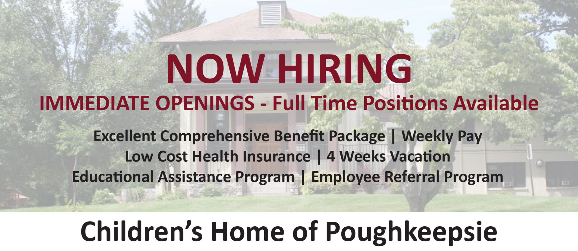 Image that shows the Children's Home had immediate openings and is hiring